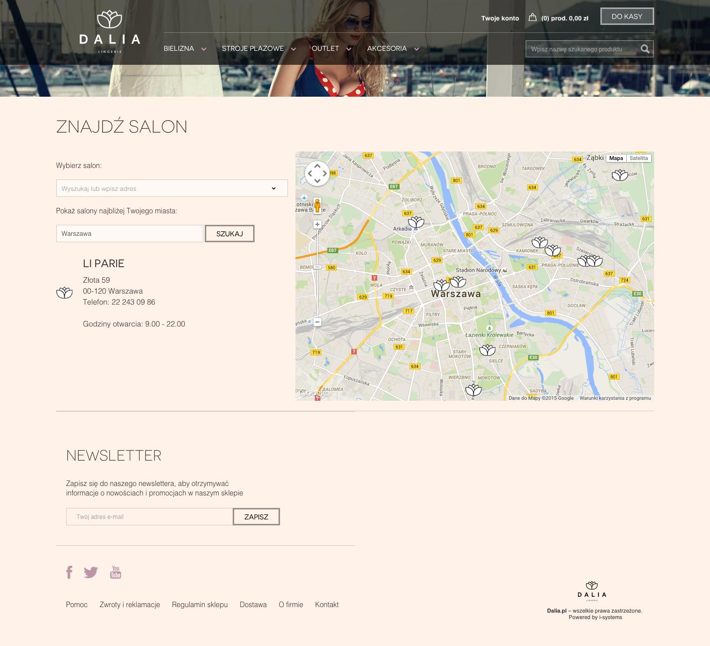 Lokalizacja salonów marki na interaktywnej mapie