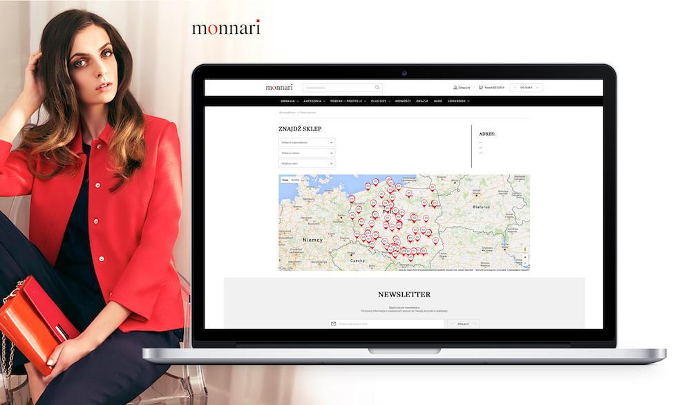 Salony stacjonarne Monnari na interaktywnej mapie